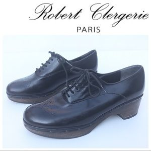 ROBERT CLERGERIE Shoe Clogs 6 platform wood black